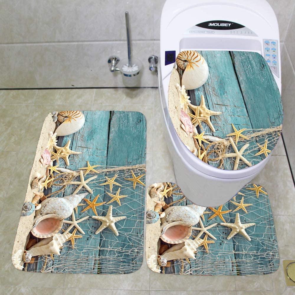 3 PCs Bathroom Mats Set, Flannel Lid Toilet Seat Cover Mat 17