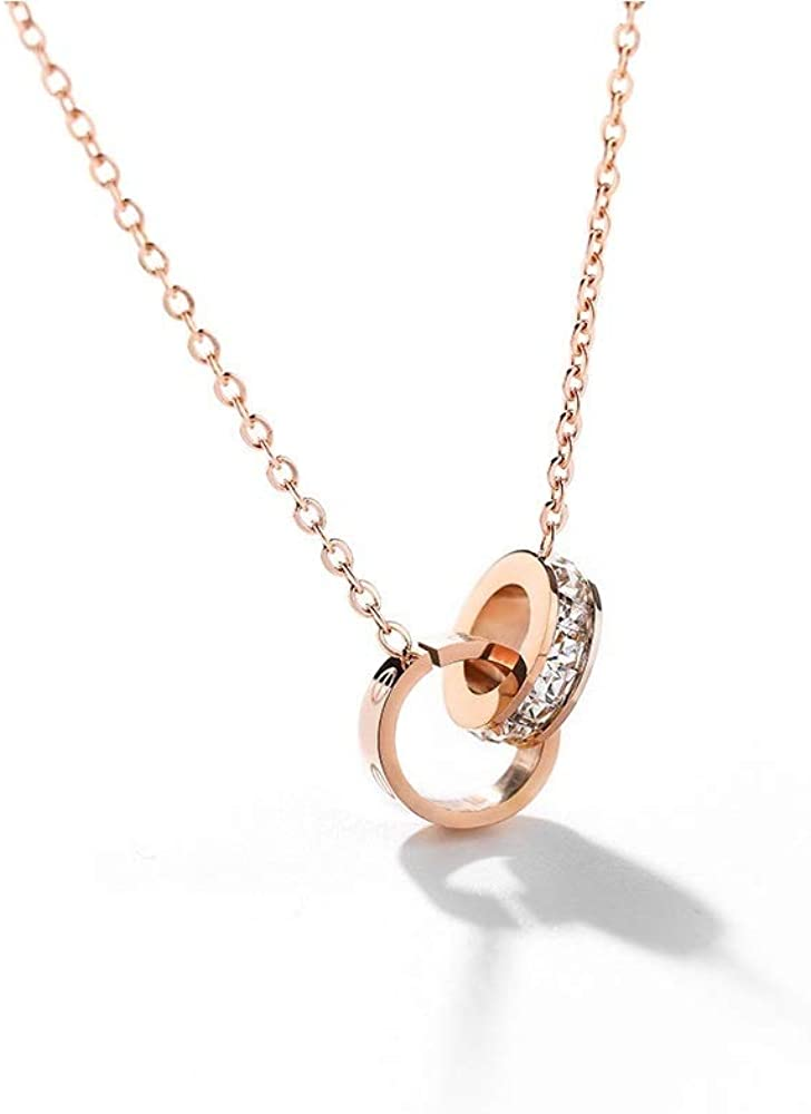 18K Gold Plated Necklace,Necklaces for Women,Rose Gold Necklace for Women,Necklaces for Girls,Rose Gold Necklace for Girl