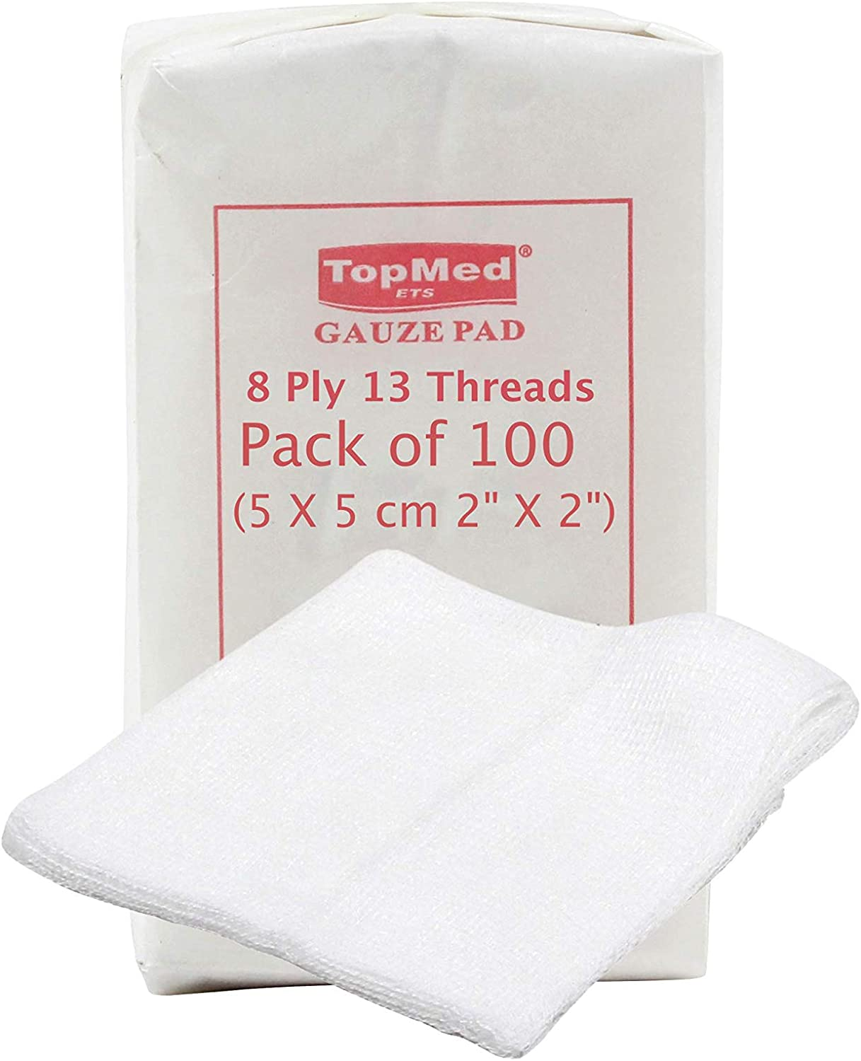 Cotton Gauze Swabs, Non-Sterile,White,8 Ply 13 Threads Pack of 100 (5 X 5 cm 2 X 2)