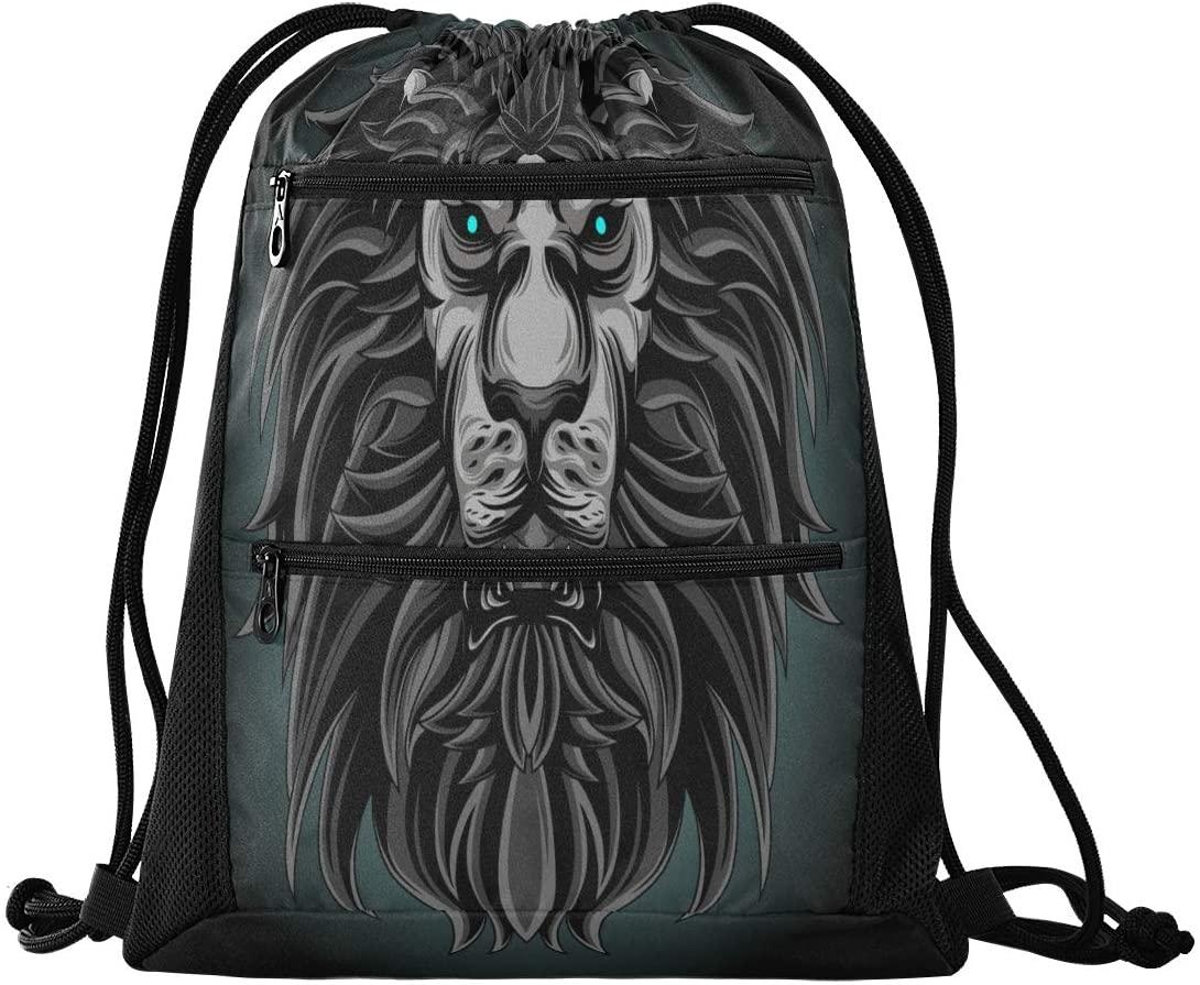 Drawstring Backpack Sport Gym Sackpack - Dark Lion Drawstring Bag with Zipper Pocket Sinch Sack Sport Backpack for Travel School