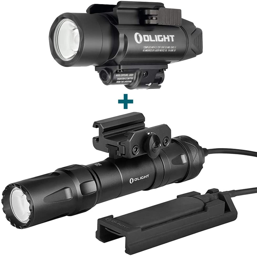 OLIGHT Baldr Pro 1350 Lumens Tactical Weaponlight with Green Light and White LED, Bundled with Odin 2000 Lumens Rechargeable Picatinny Rail Mounted Tactical Flashlight with Remote Pressure Switch