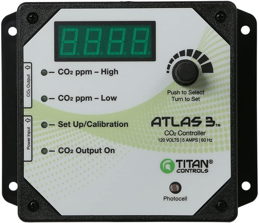 Titan Controls HGC702608 Atlas 3 Day/Night Carbon Dioxide (CO2) Monitor & Controller with Photocell, 120V-ETL Listed
