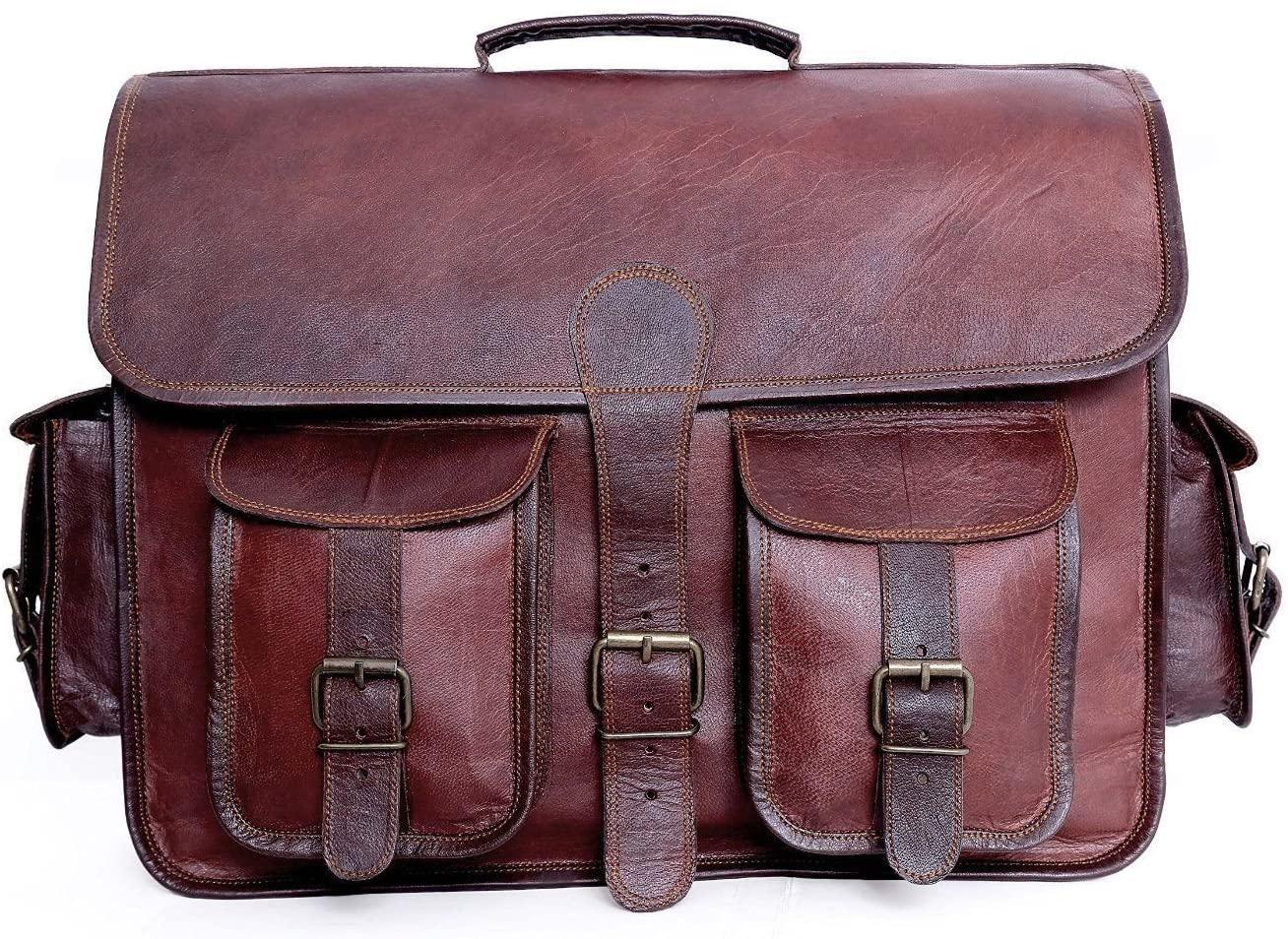 TCH Vintage Leather Messenger Bag Laptop Bag Briefcase Satchel Bag