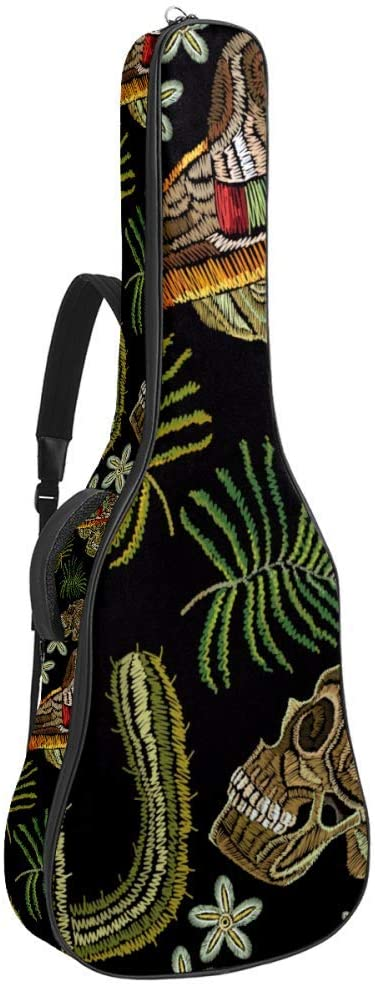 Skull In Sombrero Mexican Human Skull Sombrero Maracas Cactus Guitar Carrying Case for 40 41 42 inches Acoustic Guitar