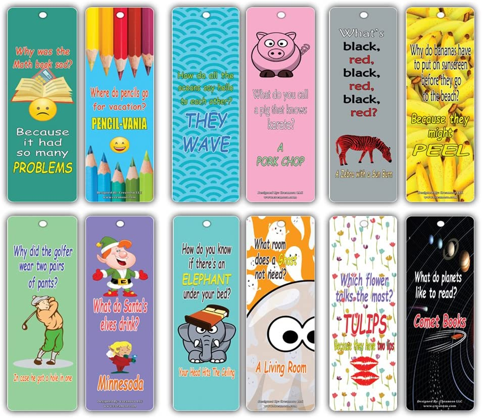 Creanoso Hilariously Silly Kids Bookmarks Bulk (30-Pack) - Funny Jokes Series 1 - Literary Gifts Party Favors Teacher Classroom Reading Rewards and Incentive Gifts for Boys Girls Children