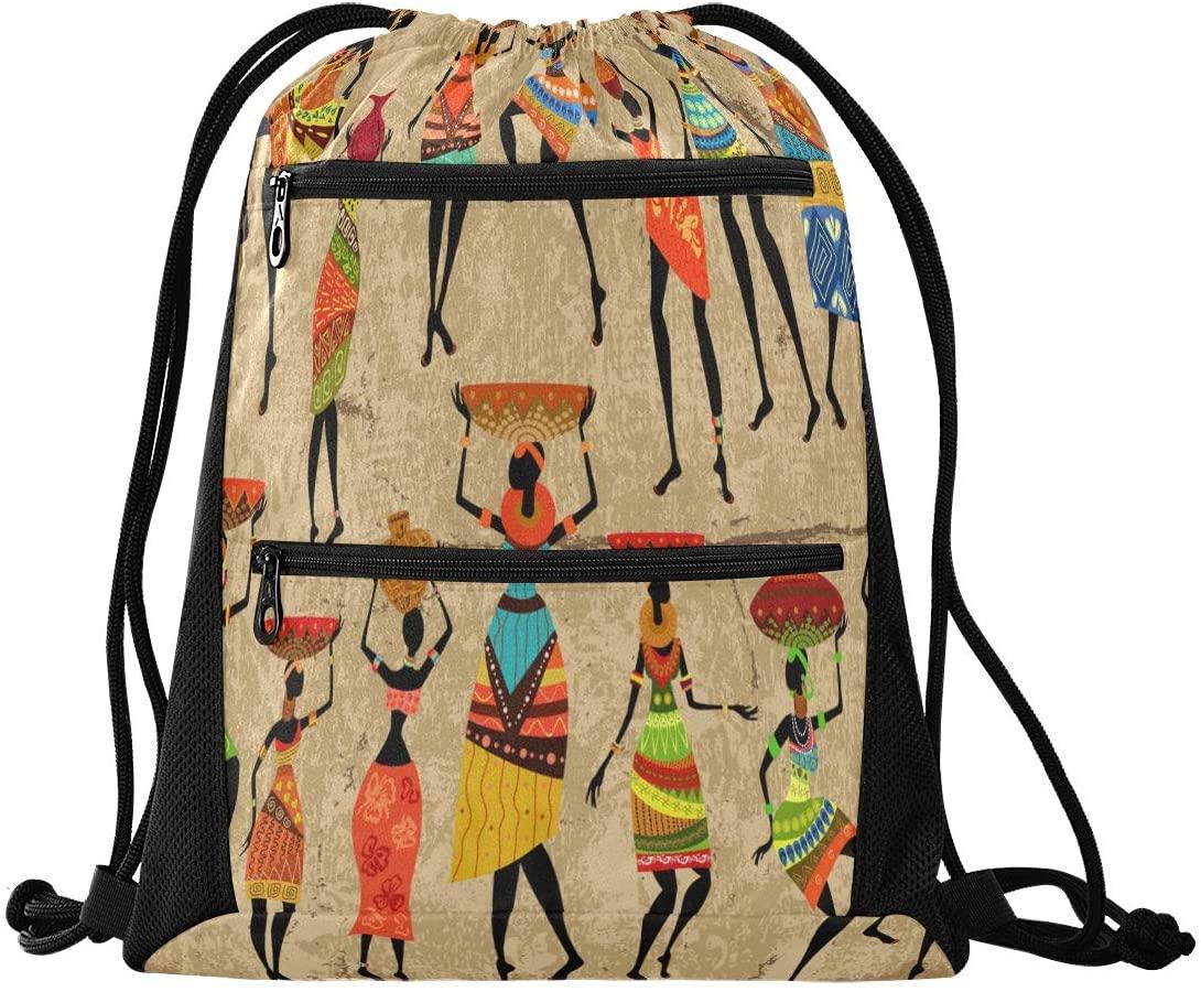 Drawstring Backpack Sport Gym Sackpack - African Woman Grunge Drawstring Bag with Zipper Pocket Sinch Sack Sport Backpack for School Yoga