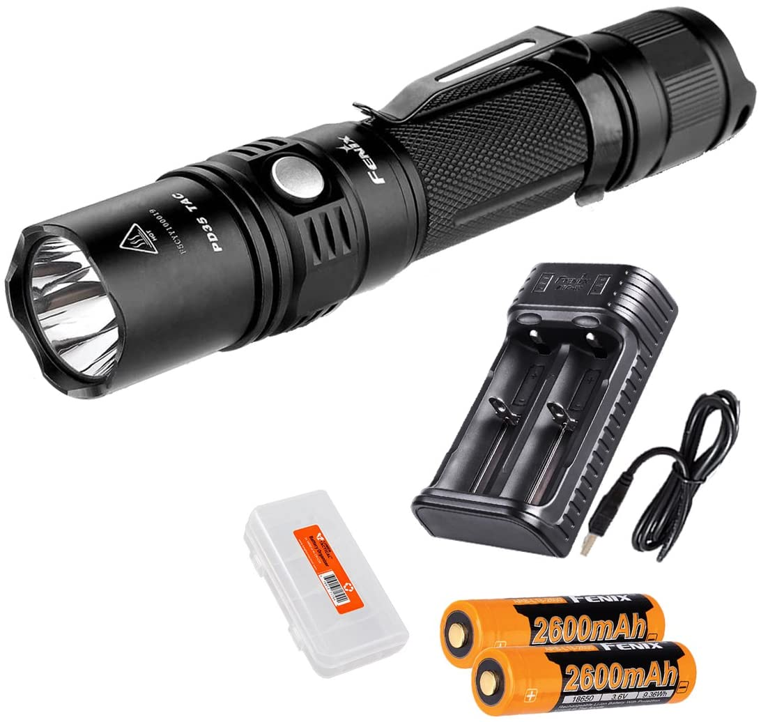 Rechargeable Bundle: Fenix PD35 TAC (PD35 Tactical) XP-L 1000 Lumens Tactical Flashlight, Fenix Smart Charger, 2x Rechargeable Batteries  and LumenTac Battery Organizer