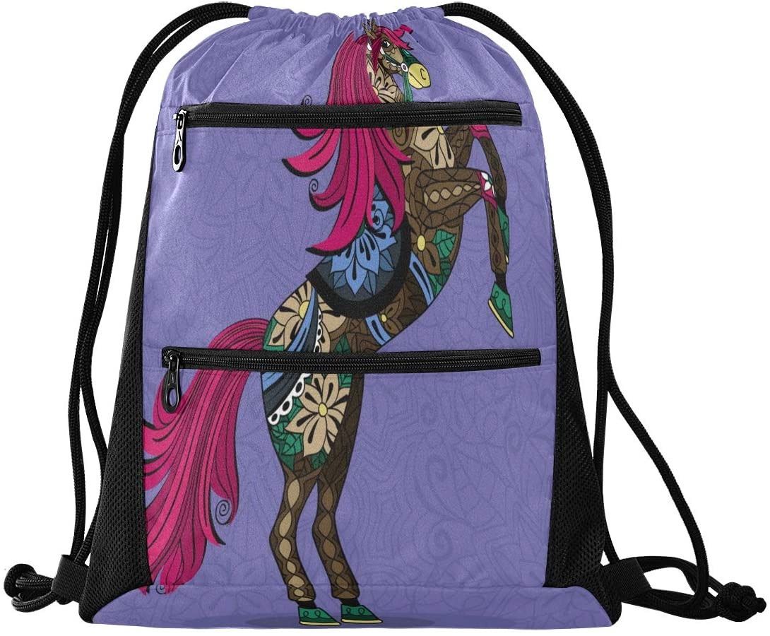 Drawstring Backpack Sport Gym Sackpack - Horse Rainbow Drawstring Bag with Zipper Pocket Gym Bag Sackpack Sport Backpack for Hiking Swimming