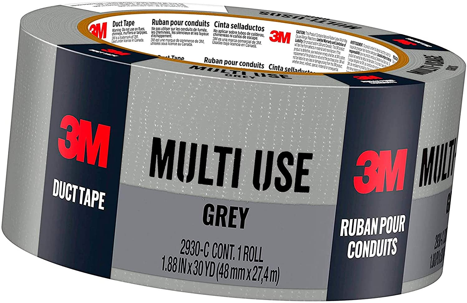 3M Multi-Use Duct Tape for Home & Shop, 1.88 inches x 30 Yards, 2930-C, 1 roll
