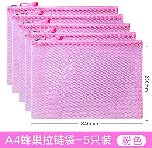 A4 File Bag Transparent Thickened mesh Zipper Bag Large Capacity Thickened hive A4-Pink-5 Pack