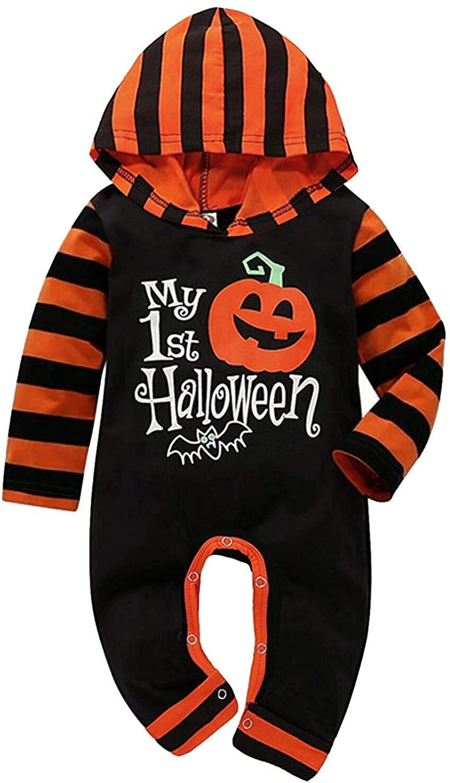 Halloween Baby Boy Girl Outfit My First Halloween Pumpkin Hoodie Romper Bodysuit One-Piece Jumpsuit
