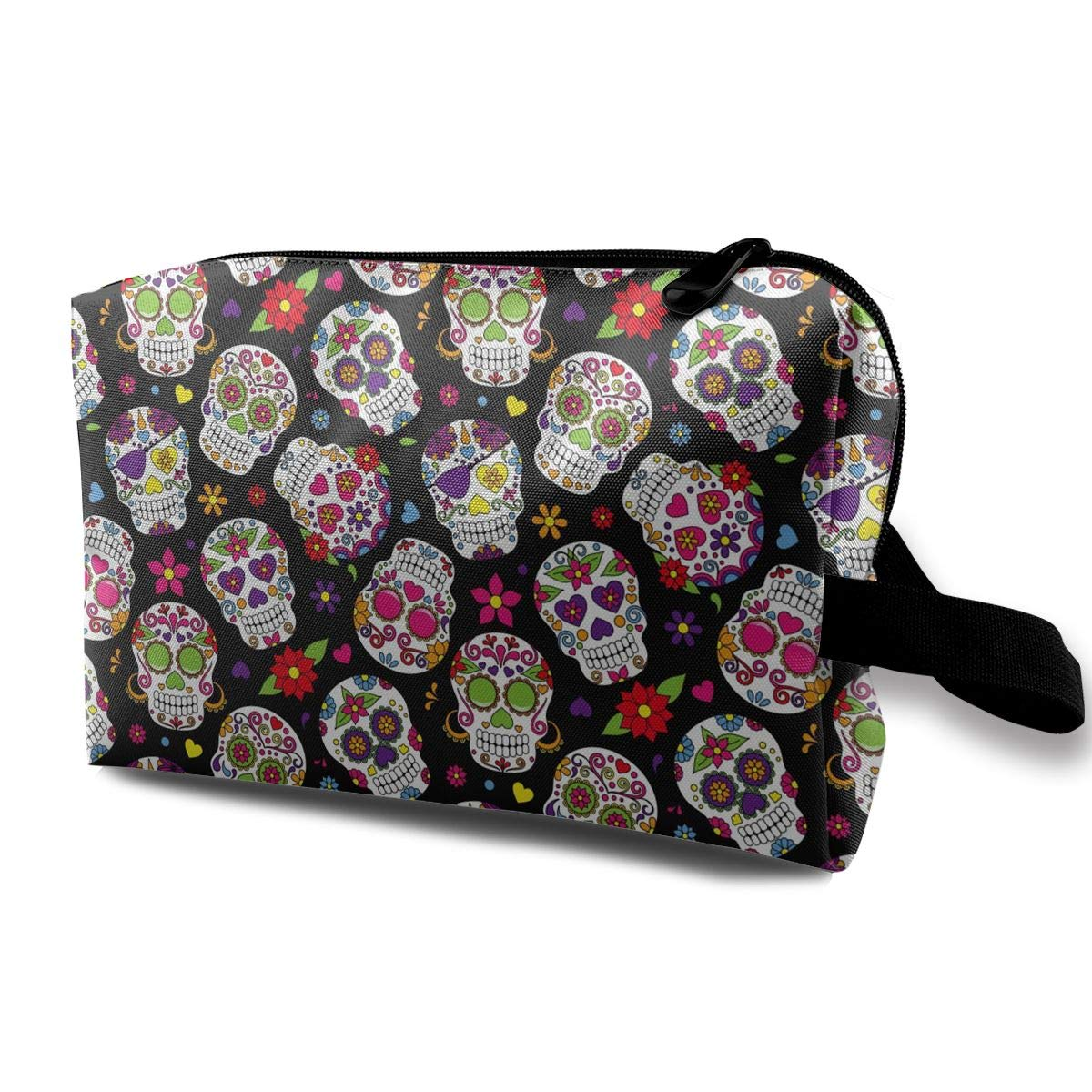 Sugar Skull Makeup Bag Cosmetic Pouch Travel Handbag Organizer Bag For Women