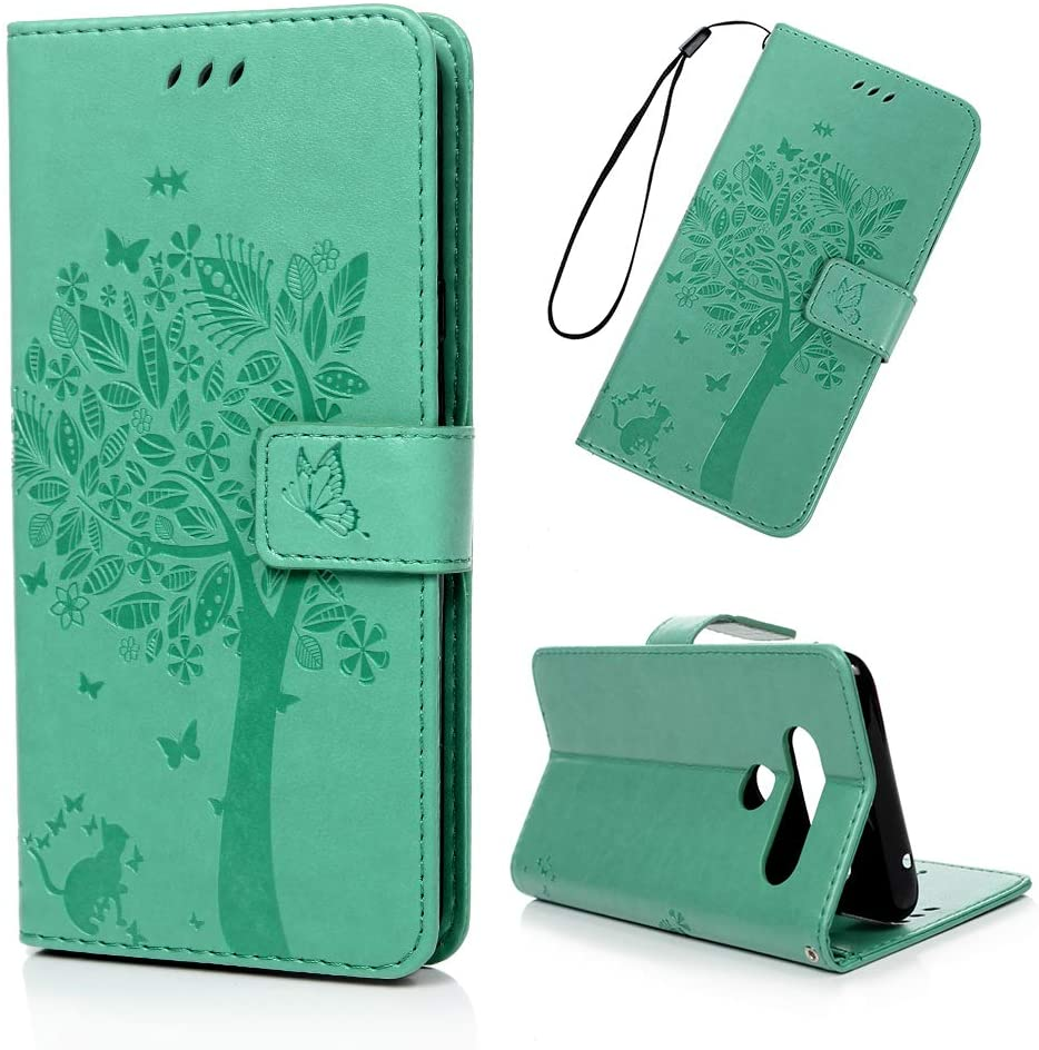 LG V40 Case, MOLLYCOOCLE Green Wallet Embossed Tree Green PU Leather Purse Ultra Credit Card Holders Design Flip Folio TPU Soft Bumper Stand Feature Cover for LG V40