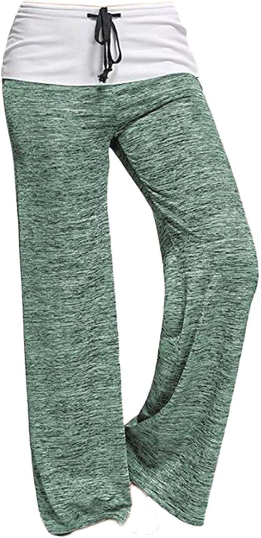 Andongnywell Wide Leg Pants Women Print High Waist Loose Casual Drawstring Trousers