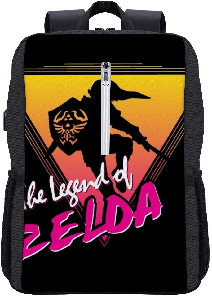Legend of Zelda 80s Retro Wave Backpack Daypack Bookbag Laptop School Bag with USB Charging Port