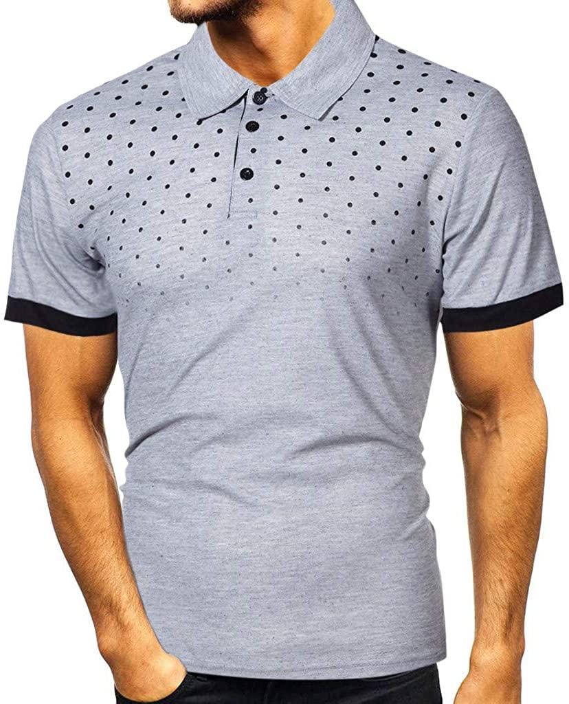 ZSBAYU Mens Polo Shirts, Fashion Slim Mens Casual Short Sleeve Patchwork T Shirt Personality Top Blouse