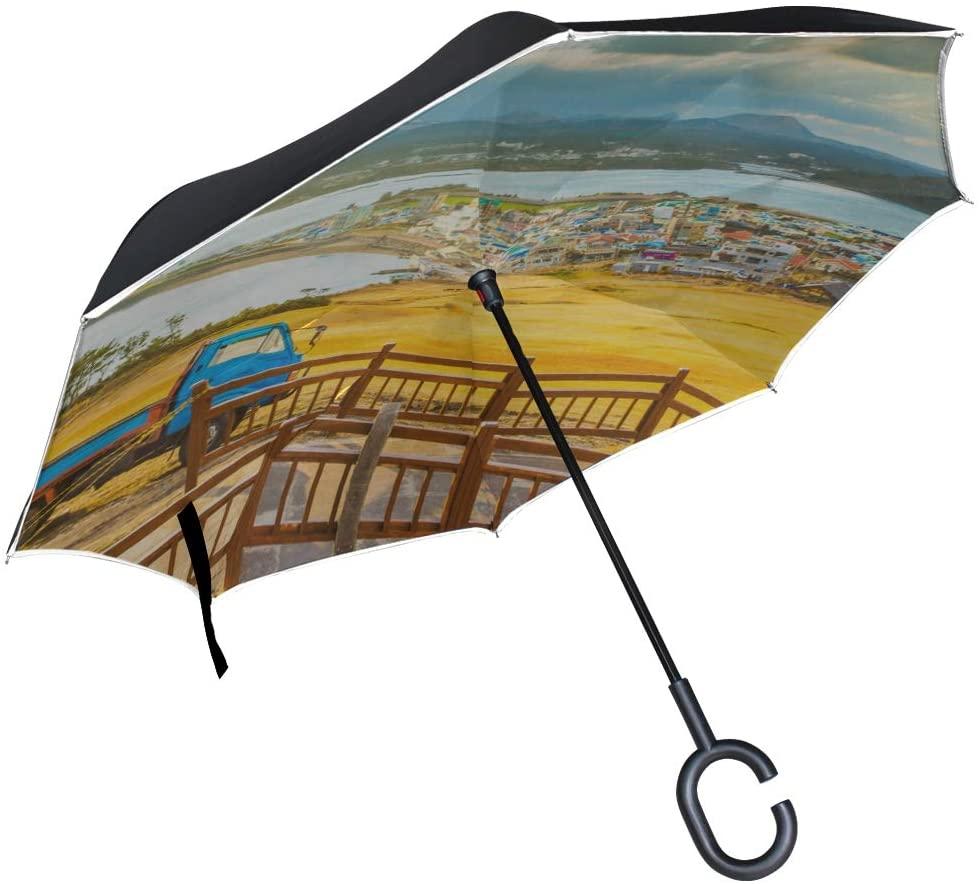 MOVTBA Double Layer Inverted Large Reversible Umbrella Free Travel Romantic Korea Jeju Islcity Mens Umbrella Inverted Inverted Umbrella for Men Windproof Uv Protection for Rain with C-Shaped Handle
