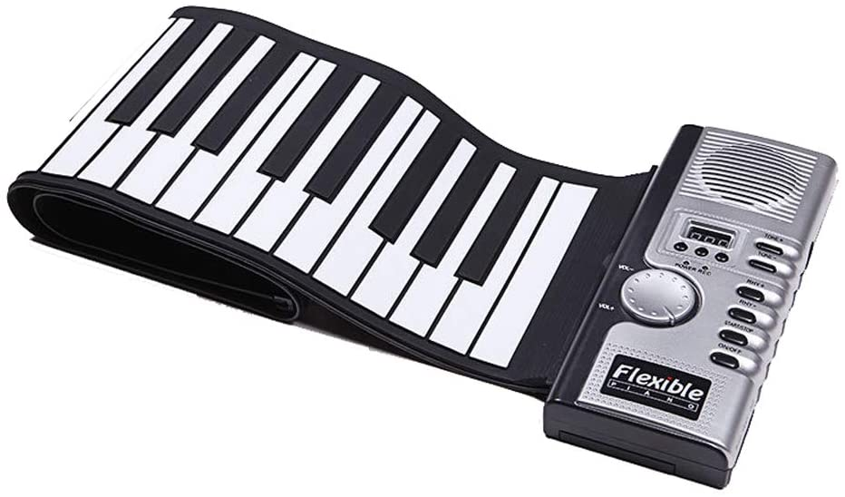 WANGLXST Portable Roll up Piano, Portable 61 Keys Roll-Up Piano Soft Silicone Flexible Electronic Digital Music MIDI Keyboard Piano Toy