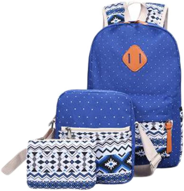 LAAT Canvas Backpack + Shoulder Bag+ Pencil Pouch- Set 3 Pieces Canvas Satchels Travel Sacks Schoolbag Casual Daypack Messenger Rucksack (Dark-Blue)