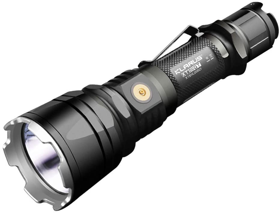 Klarus XT12GT Cree XHP35 HI D4 LED Tactical Rechargeable Flashlight with Magnetic USB Charging Connector