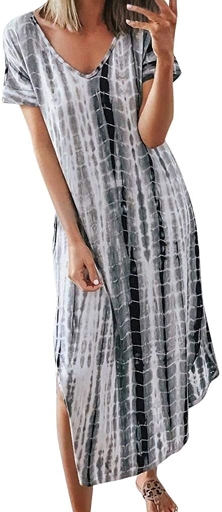 terbklf Womens Summer Casual Short Sleeve Split Tie Dye Long Dress Midi Dresses for Women Plus Size Beach Party Dress