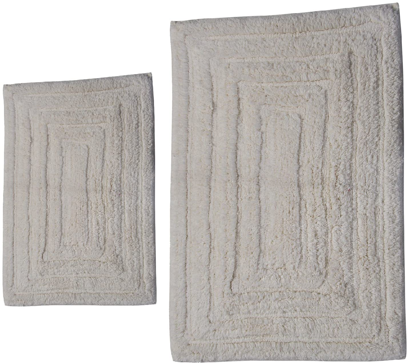 Castle Hill CH-BR-21X34&24X40-RTRAK-2PCS-IVR 2-Piece Bath Rug Sets, 21 by 34-Inch/24 by 40-Inch, Ivory