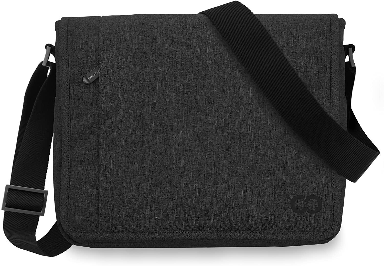 11 Inch MacBook Air / 12 Inch MacBook/Laptop Casecrown Canvas Horizontal - Campus Messenger Bag (Black Stealth)