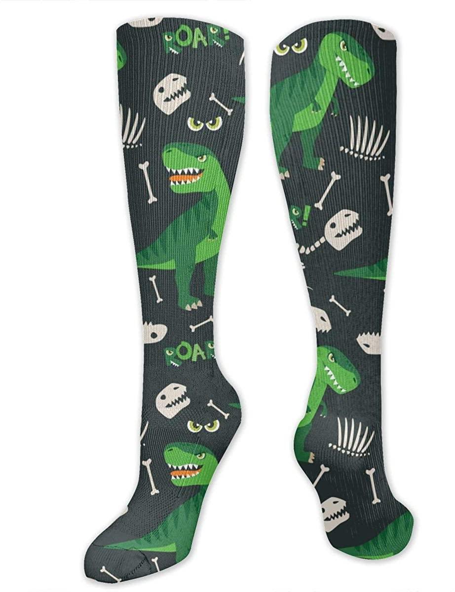 T Rex And Dino Bones Roar Athletic Socks Thigh Stockings Over Knee Leg High Socks