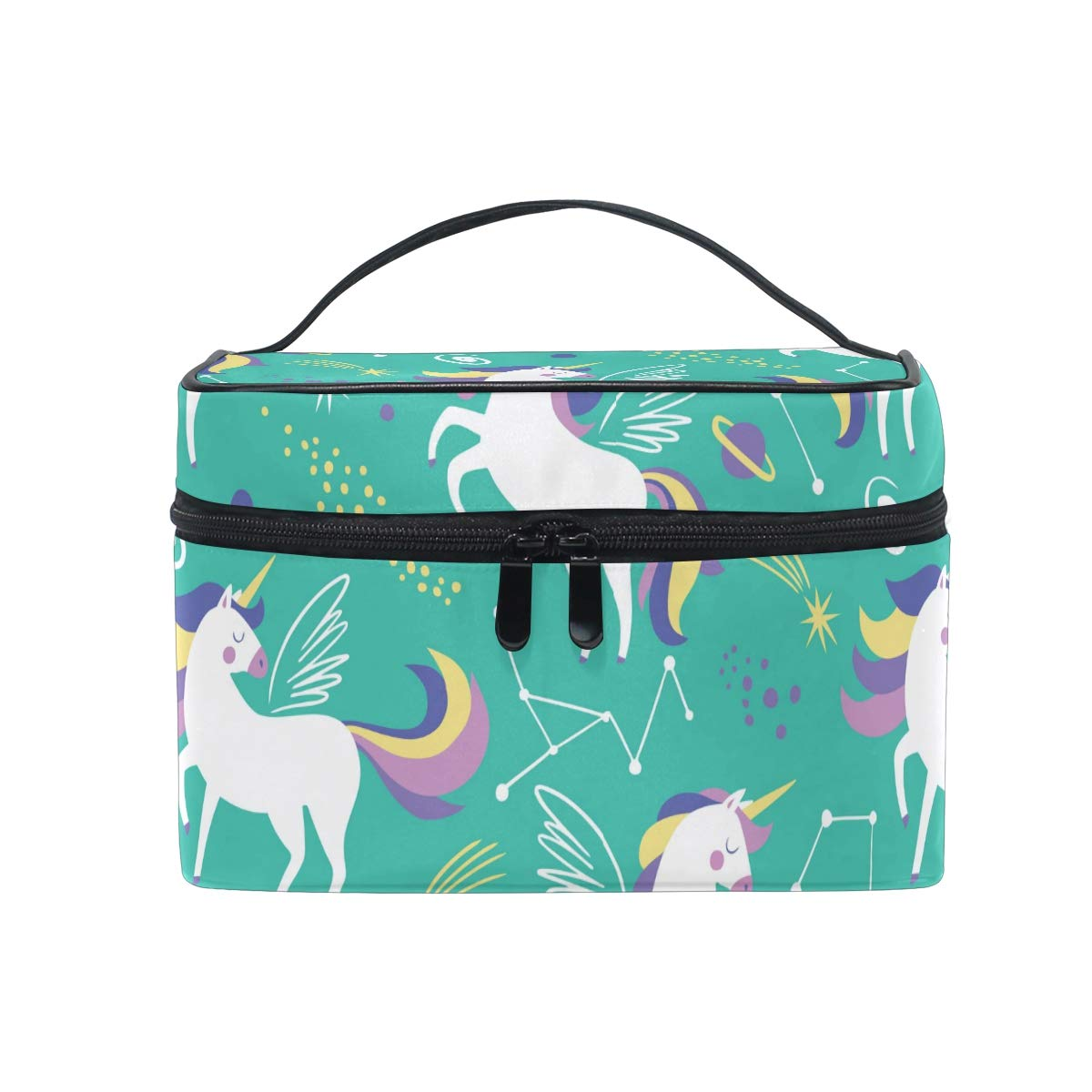 Aflyko Unicorn Toiletry Organizer Makeup Bag Cosmetic Train Cases Storage Bag Portable Medical Kits for Women Girls