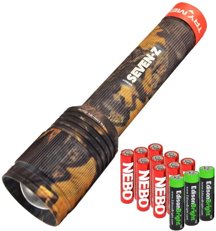 Nebo 6414 Seven-Z 770 lumens LED Flashlight (camo Body) with 3 X EdisonBright AA Alkaline Batteries & 9 Nebo AA Batteries