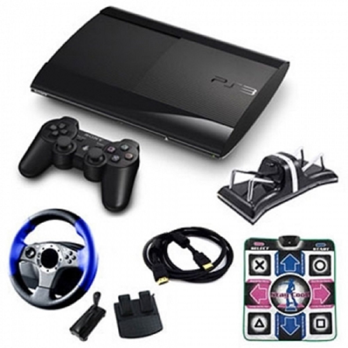 Sony Playstation 3 Slim 250Gb Holiday Starter Bundle With Wheel, Dance Pad, And More