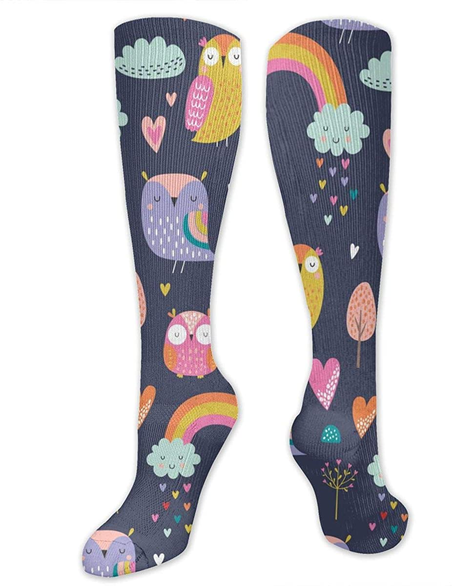 Cartoon Style Owls Athletic Socks Thigh Stockings Over Knee Leg High Socks