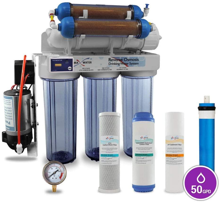 Max Water 6 Stage Reef Aquarium Reverse Osmosis System/Reverse Osmosis System/RO Water Filtration System/RO Water Purifier RODI System + HM Inline TDS Meter 50 GPD with Booster Pump