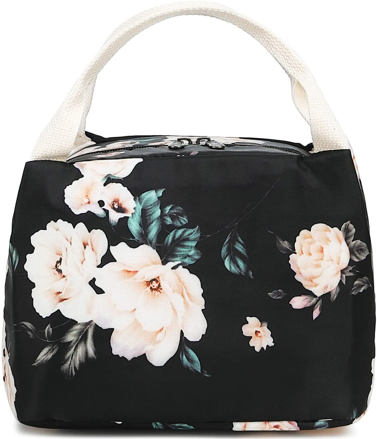 Insulated Lunch Tote Bag Women Kids Cooler Bag Work School Beach Picnic Fishing Lunch Bag Organizer Lunch Tote (E0066 Black)