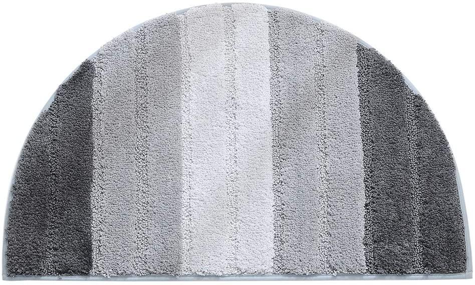MOOUS Half Moon Door Mat Shaggy Pile Rug Semi Circle Half Moon Door Mat Non-Slip Floor Mat Gradient Pattern Soft Touch Carpet for Home Bathroom Bedroom(Gray)