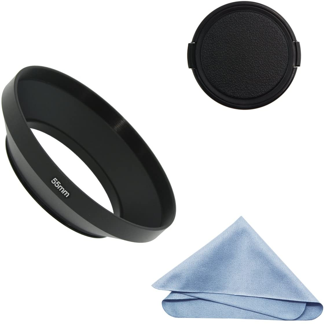 SIOTI Camera Wide Angle Metal Lens Hood with Cleaning Cloth and Lens Cap Compatible with Leica/Fuji/Nikon/Canon/Samsung Standard Thread Lens(55mm)