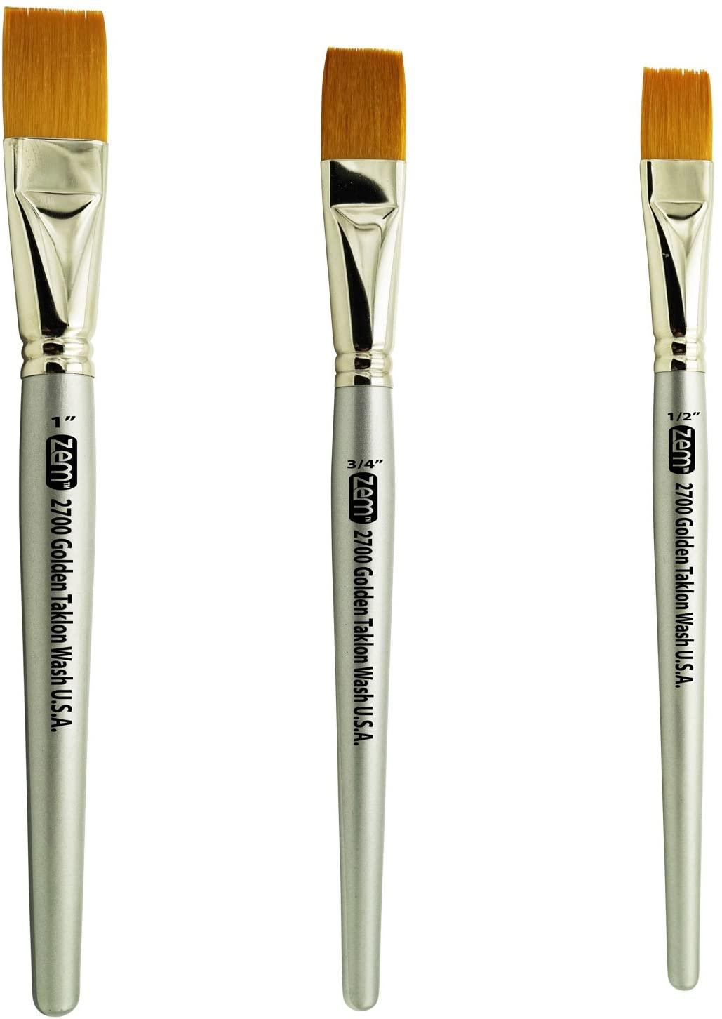 ZEM Brush Golden Taklon Wash Brush Set Sizes 1/2