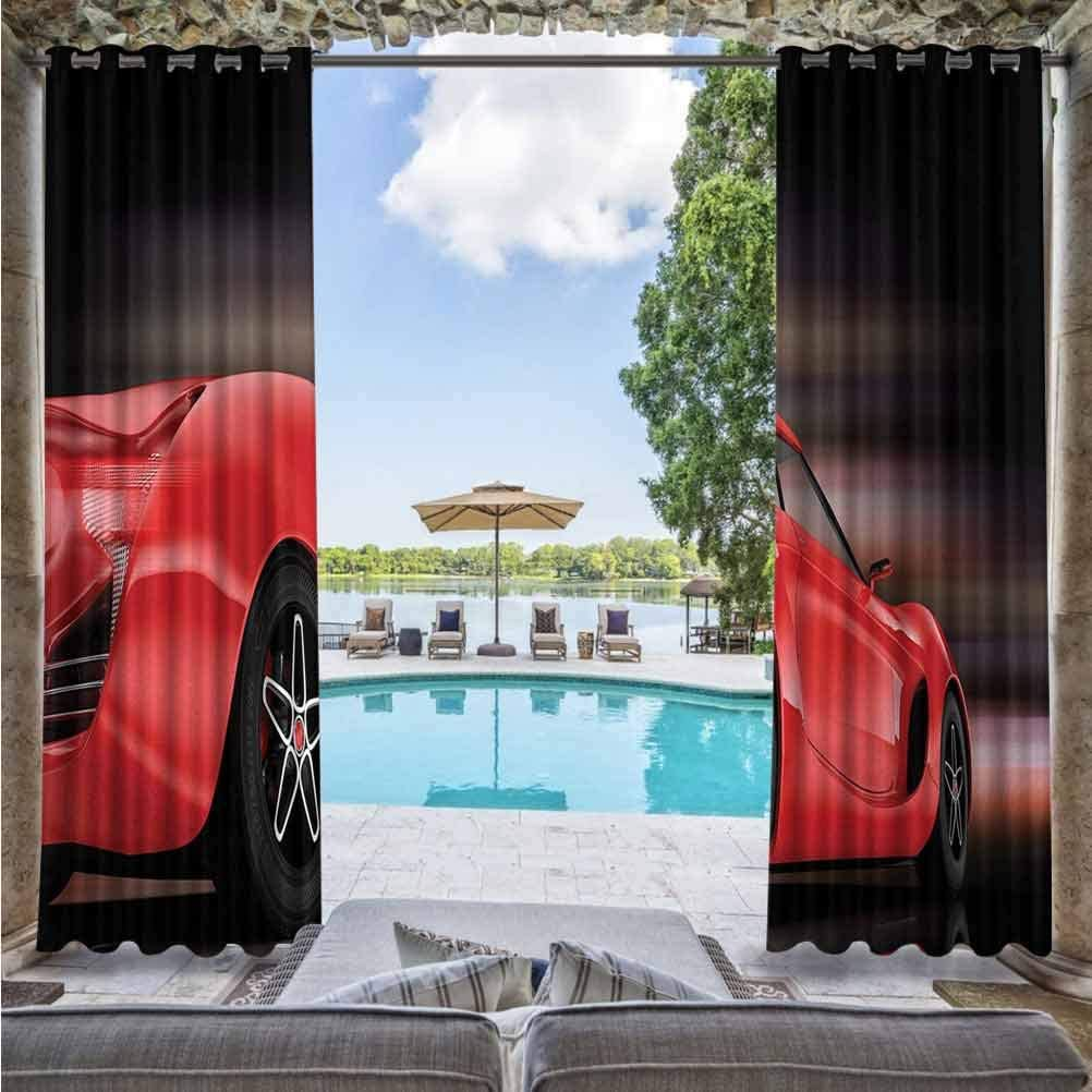 Cars Durable Curtain for Pergola/Sunroom Rear View of A Futuristic Sports Car Motion Power Transportation Vehicle Sublime Motor Red Black 72