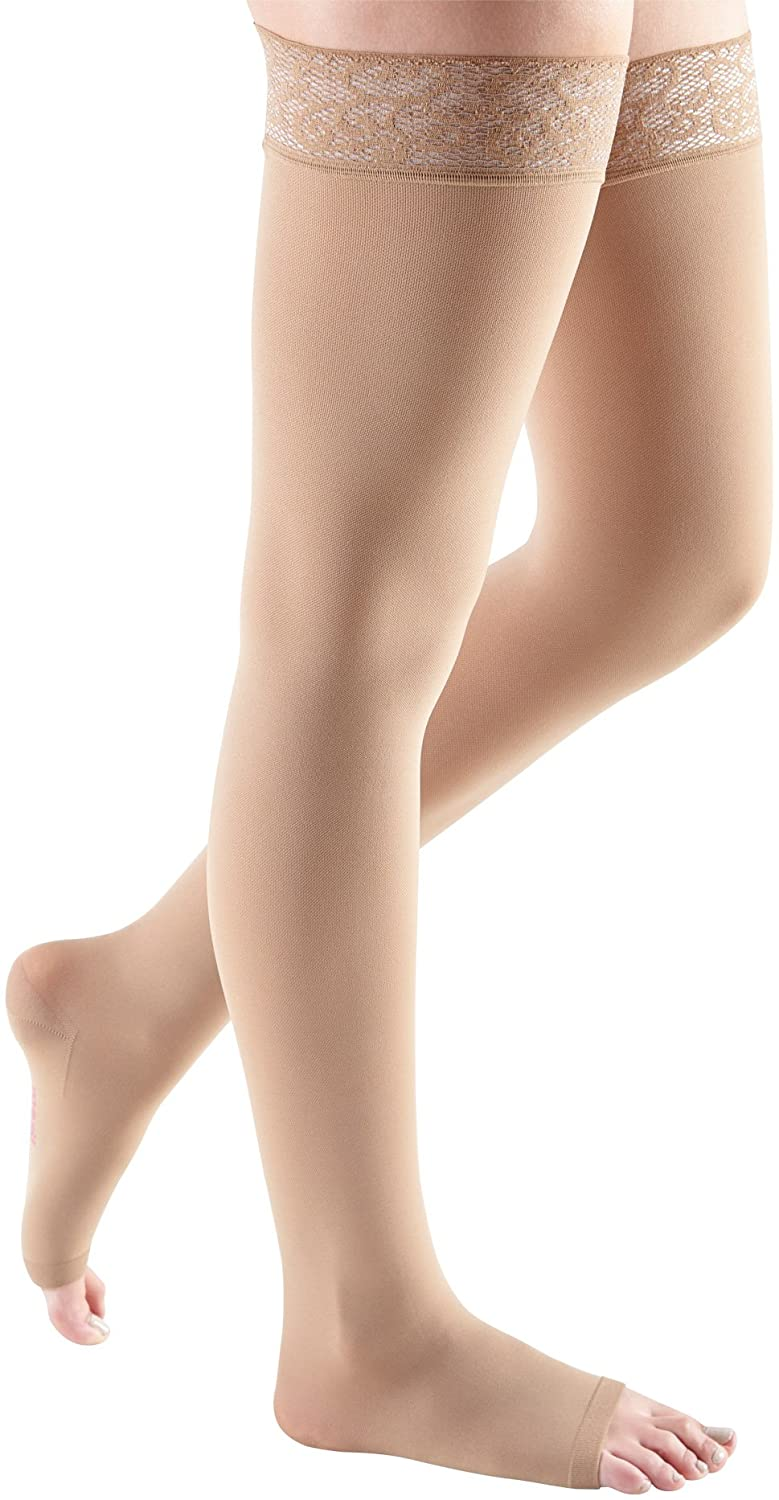 mediven Comfort, 15-20 mmHg, Thigh High Stockings w/Lace Top-Band, Open Toe