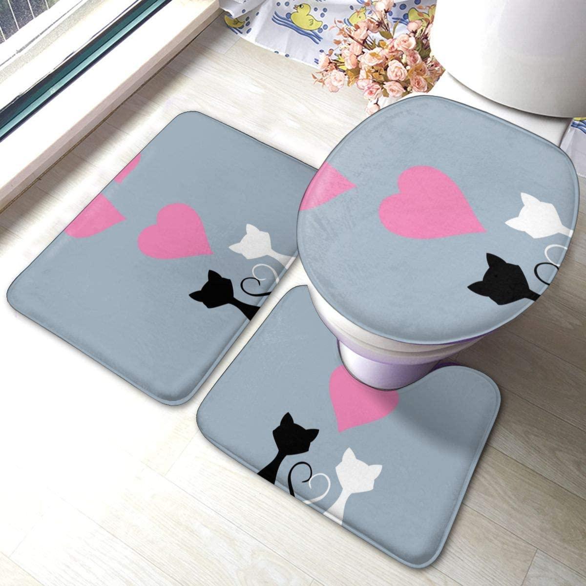 Bathroom Rugs Sets 3pc Cute Cartoon Cats Love Pink Hearts Non Slip Bath Mats Rug U Shaped Contour Rug Toilet Lid Cover Mat Washable Floor Carpet Shower Tub Bathroom Accessories Decor