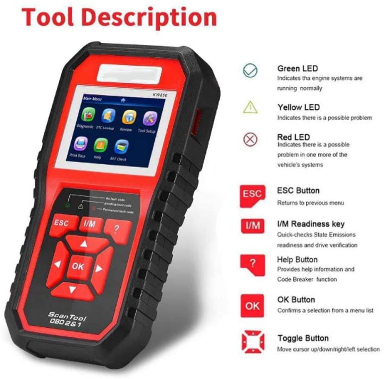WUAZ OBD II Vehicle Check Engine Light Scan Tool Automotive Code Reader Auto OBD2 Scanner with I/M Readiness
