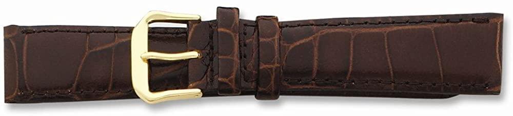 Sonia Jewels 12mm Brown Croc Dark Stitch Gold-Tone Buckle Watch Band 6.75