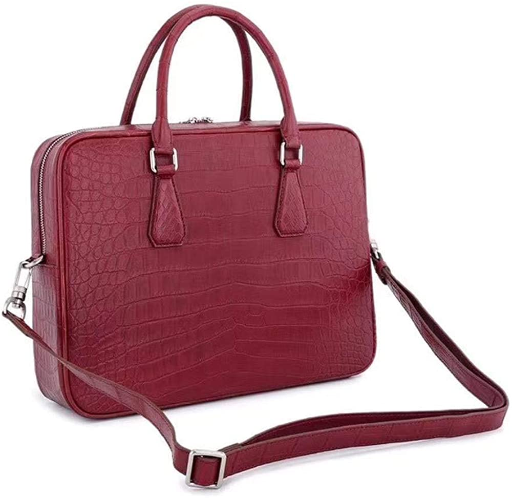 Crocodile Leather Laptop Briefcase with Pass Through Trolley Handles Red