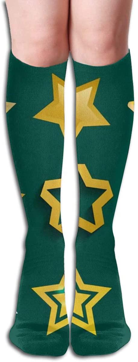 Different Style Pointed Pentagonal,Design Elastic Blend Long Socks Compression Knee High Socks (50cm) for Sports