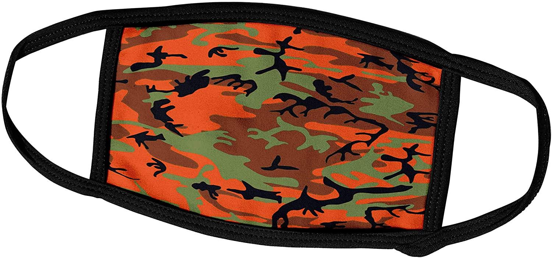 3dRose Sandy Mertens Camouflage - Hunter Orange Camouflage Pattern - Face Masks (fm_60457_2)