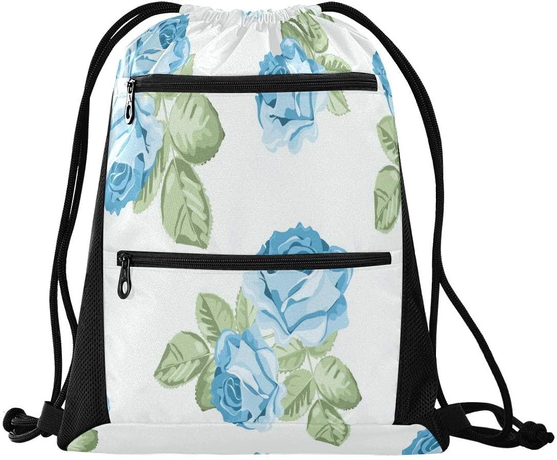 Drawstring Backpack Sport Gym Sackpack - Chic Blue Rose Drawstring Bag with Zipper Pocket Sinch Sack Sport Backpack for Travel Beach