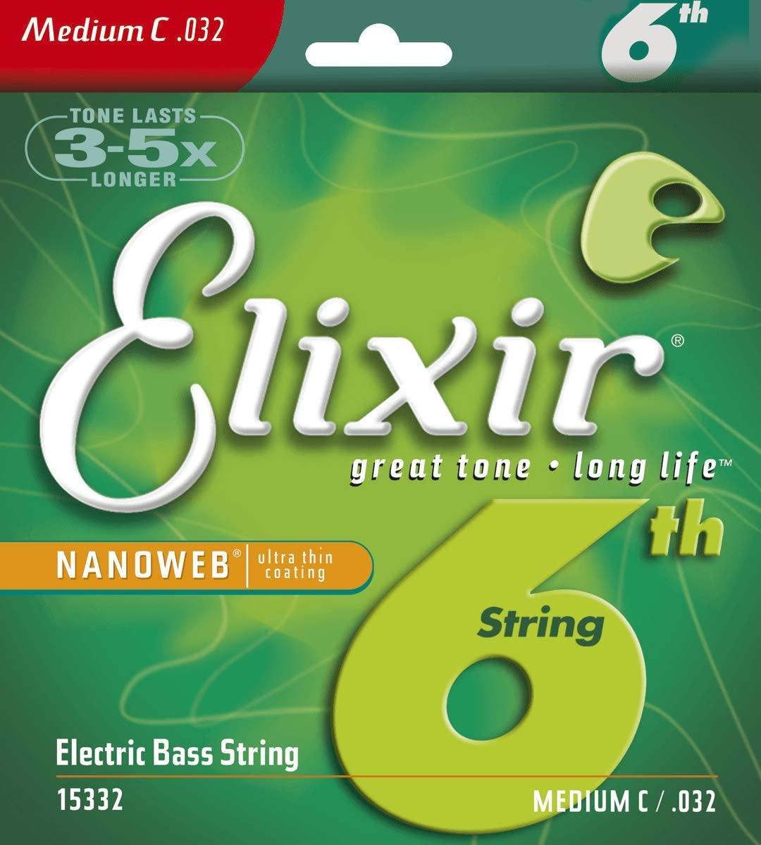 Elixir Strings Nickel Plated Steel with NANOWEB  Coating, Custom Bass 6th String Single, Medium C (.032)