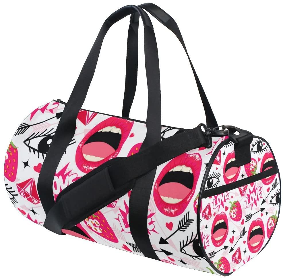 My Little Nest Sports Gym Bag Funny Lips Eyes Strawbery Lightweight Travel Duffel Bag for Women Men