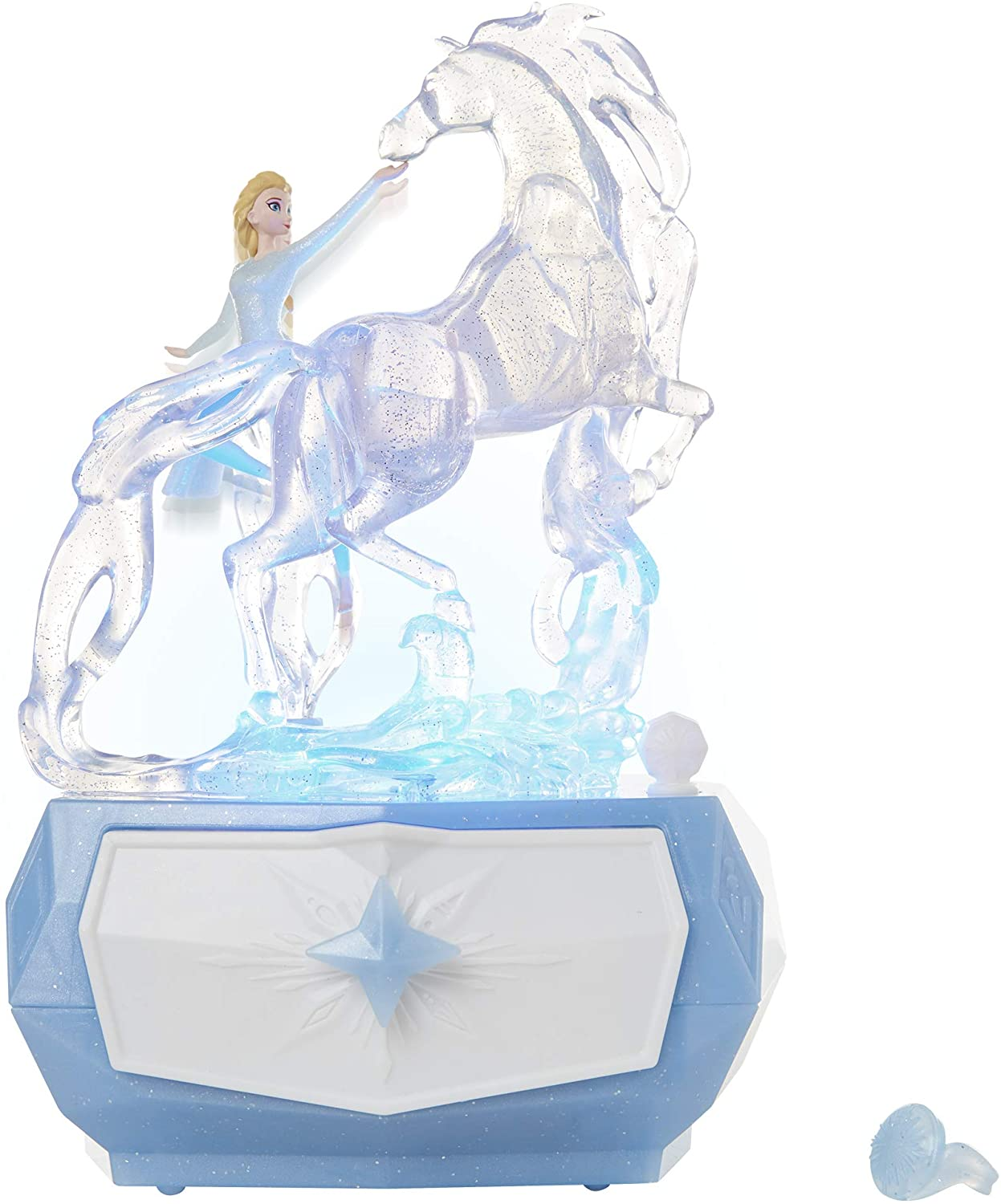 """Disney Frozen 2 Elsa & Water Nokk Jewelry Box with Snowflake Ring, Color Changing Light, Plays """"Into The Unknown"""""""