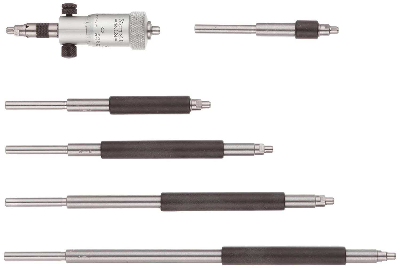 Starrett 124AZ Solid-Rod Vernier Inside Micrometers Set, 2-8